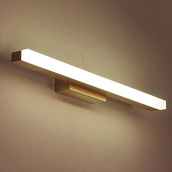badezimmerlampe Nordische Massivholz-Spiegel-Lichter, LED Badezimmer ...