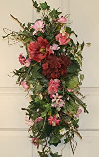 pink blossom silk tear drop swag 28 in beautiful alternative to a spring wreath for