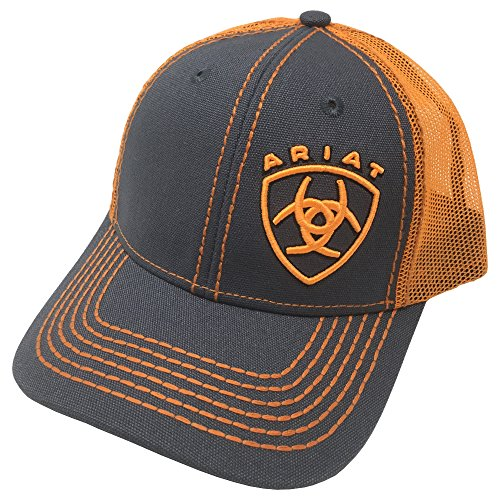 (ARIAT Kid's Orange Signature Logo Cap, Grey, Orange, OS)