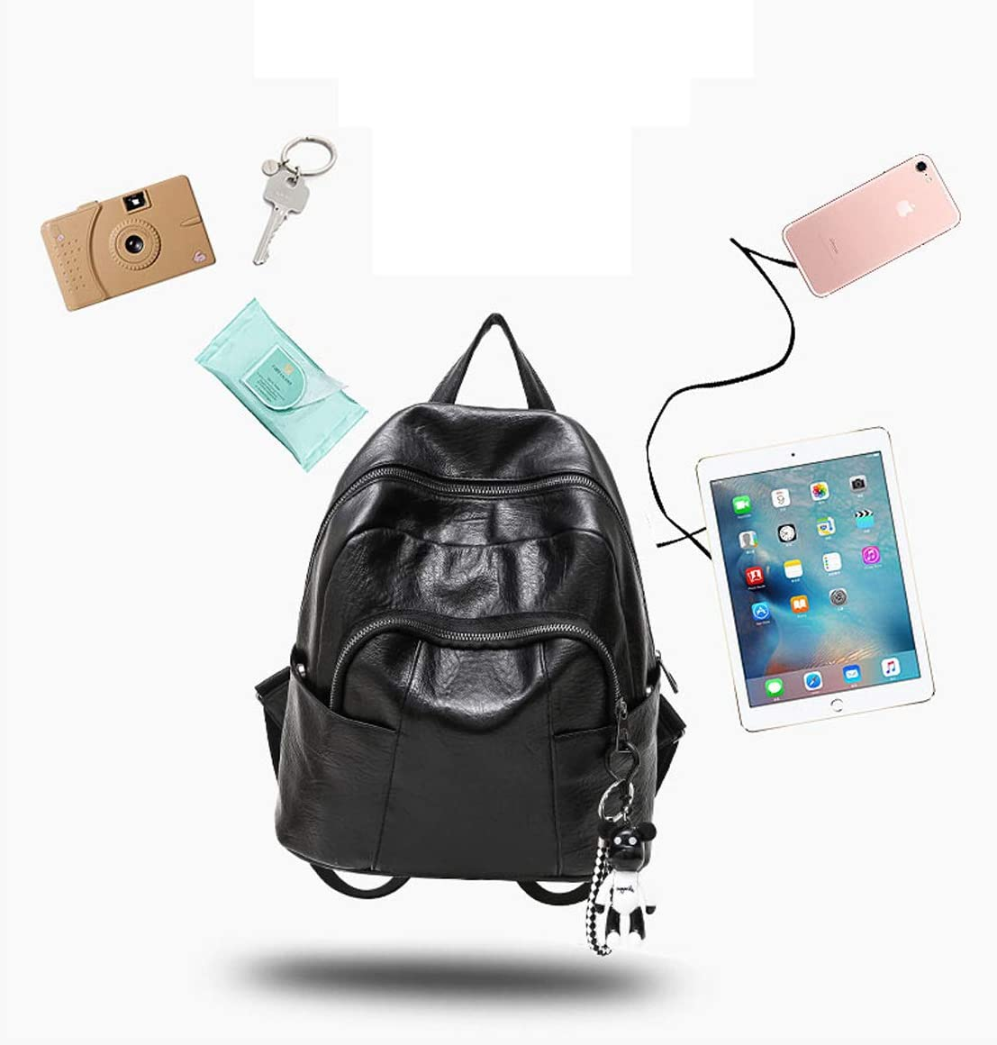 Outdoor Travel Haoyushangmao The Girls Versatile Backpack is Perfect for Everyday Travel Color : Black, Size : 28cm31cm13cm Fashion and Leisure Work School Black//Brown.