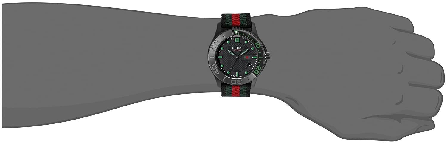 dfe0253939e Amazon.com  G-Timeless Black Stainless Steel Watch with Striped Nylon Men s  Band(Model YA126229)  Watches