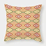 iPrint Cotton Linen Throw Pillow Cushion Cover,Native American,Colorful Geometric Ethnic Aztec Patterns South Mexican Traditional Folk Art Print,Multi,Decorative Square Accent Pillow Case