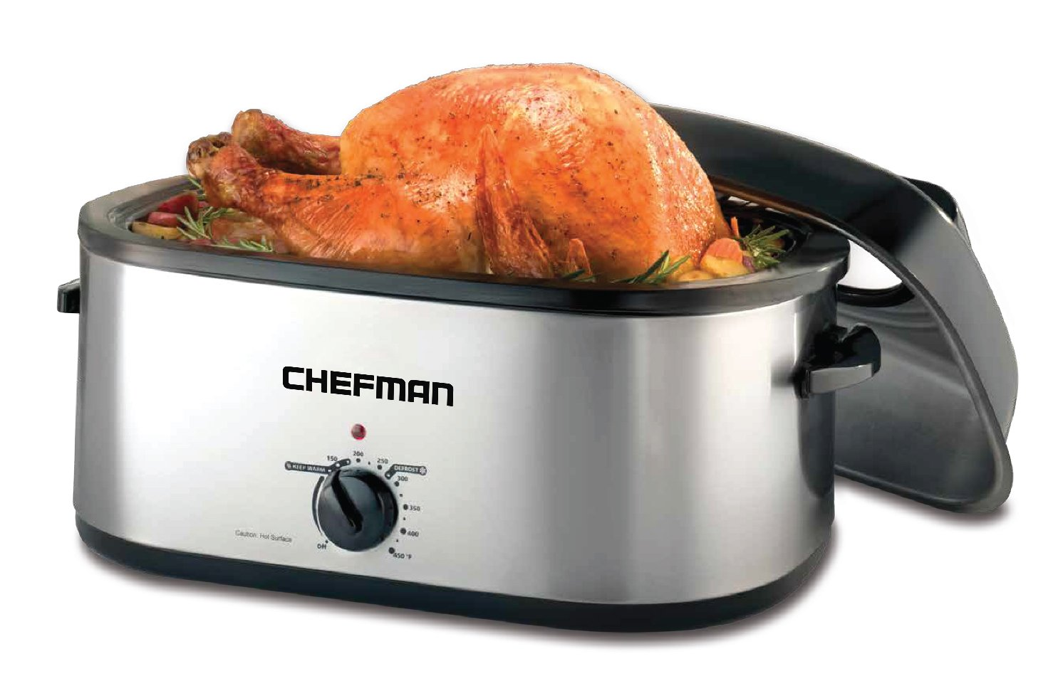Chefman 20 Quart Roaster Oven Slow Cooker w/Window Viewing Lid Perfect Cooking Roasting, Baking, Serving and More, Family Size, Black (Stainless Steel)