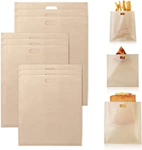 AIEVE Toaster Bags Reusable, 9 Pack Non-stick Toaster Bags in 3 Sizes, for Grilled Cheese Sandwiches in Toaster or Microwave Oven, Suits for Pizza Slices Chips Panini and Vegetables
