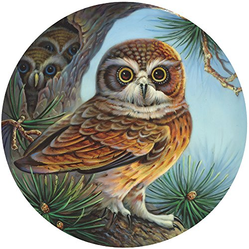 Bits and Pieces - 500 Piece Round Jigsaw Puzzle for Adults - Owl and Chicks - 500 pc Owl and Owlets in a Pine Tree Round Jigsaw by Artist Oleg -
