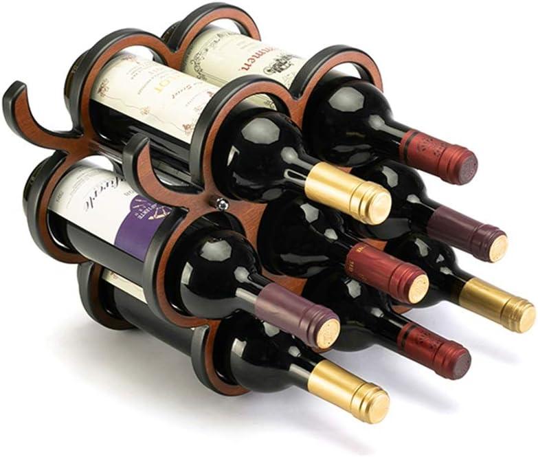 ワインラック・ホルダー 8ボトルグレープバインワインディスプレイラック収納オーガナイザー ワインストレージ 家飾り (Color : Brown, Size : 28x17.5x40.3cm)