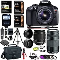 Canon EOS Rebel T6 DSLR Camera Kit, EF-S 18-55mm IS II Lens, EF 75-300mm III Telephoto Lens, Polaroid Wide Angle, Telephone Lens and Accessory Bundle