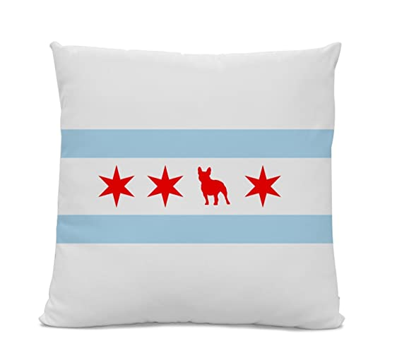 Chicago flag french bulldog pillow chicago home decor frenchie pillow dog breed silhouette