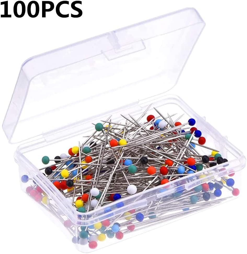 Sewing Pins Quilting Pins for Sewing Accessories and Supplies Dressmaker Jewelry 100 Pieces Push Pins Pin Cushion Decoration Sraight Pins