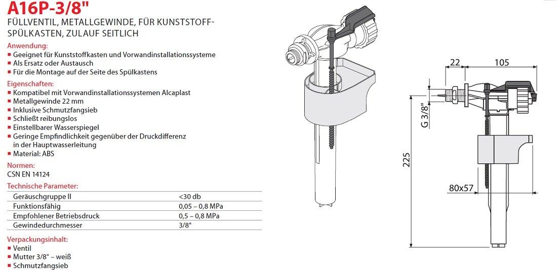 """Füllventil für WC-Keramik Spülkasten 3//8/"""" Füll-Ventil Anschluss Unten Neu"""
