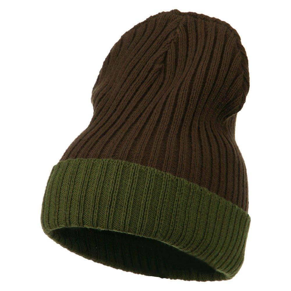 リブニット2つカラーCuff Beanie – ブラウン One Size  B00O4GIB66