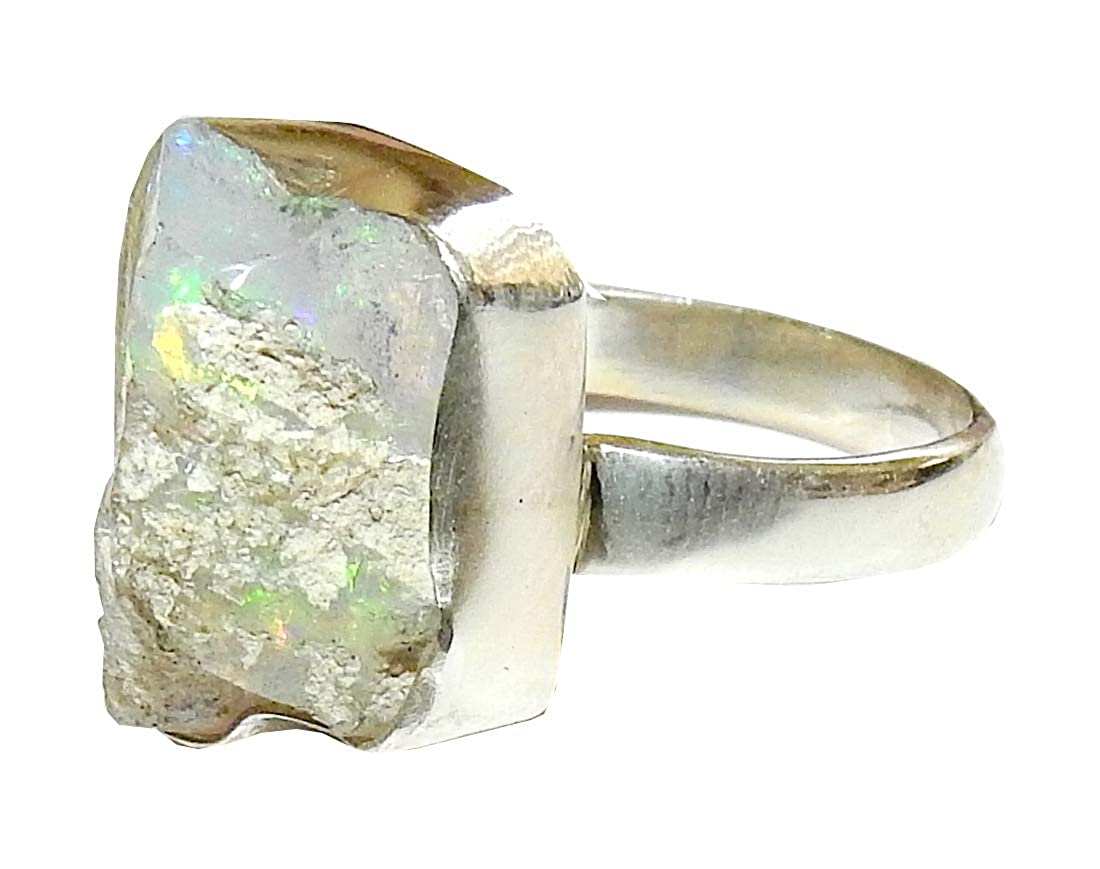 Ethiopian Fire Opal Ring Gorgeous Flashes High Vibration Crystal Energy Size 10 FOR014