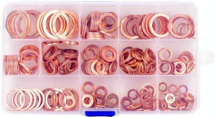 DEDC 280 St/ück Flach Unterlegscheiben 12 Gr/ö/ßen Kupferdichtringe Flach und Sicherungsscheiben flache Dichtring Sortiment Set