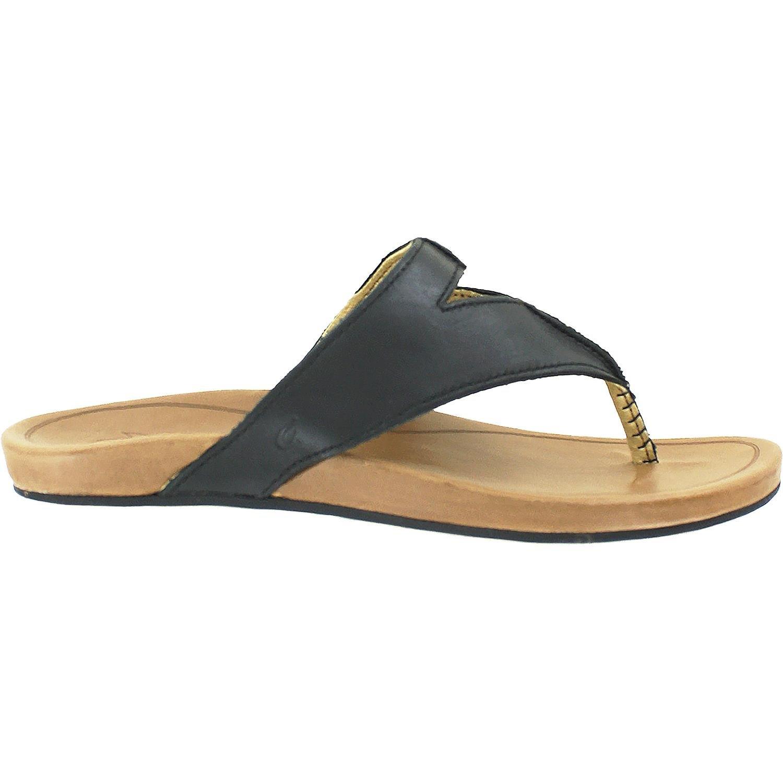 Olukai Lala - Womens Leather Comfort Sandal Black / Tan - 9