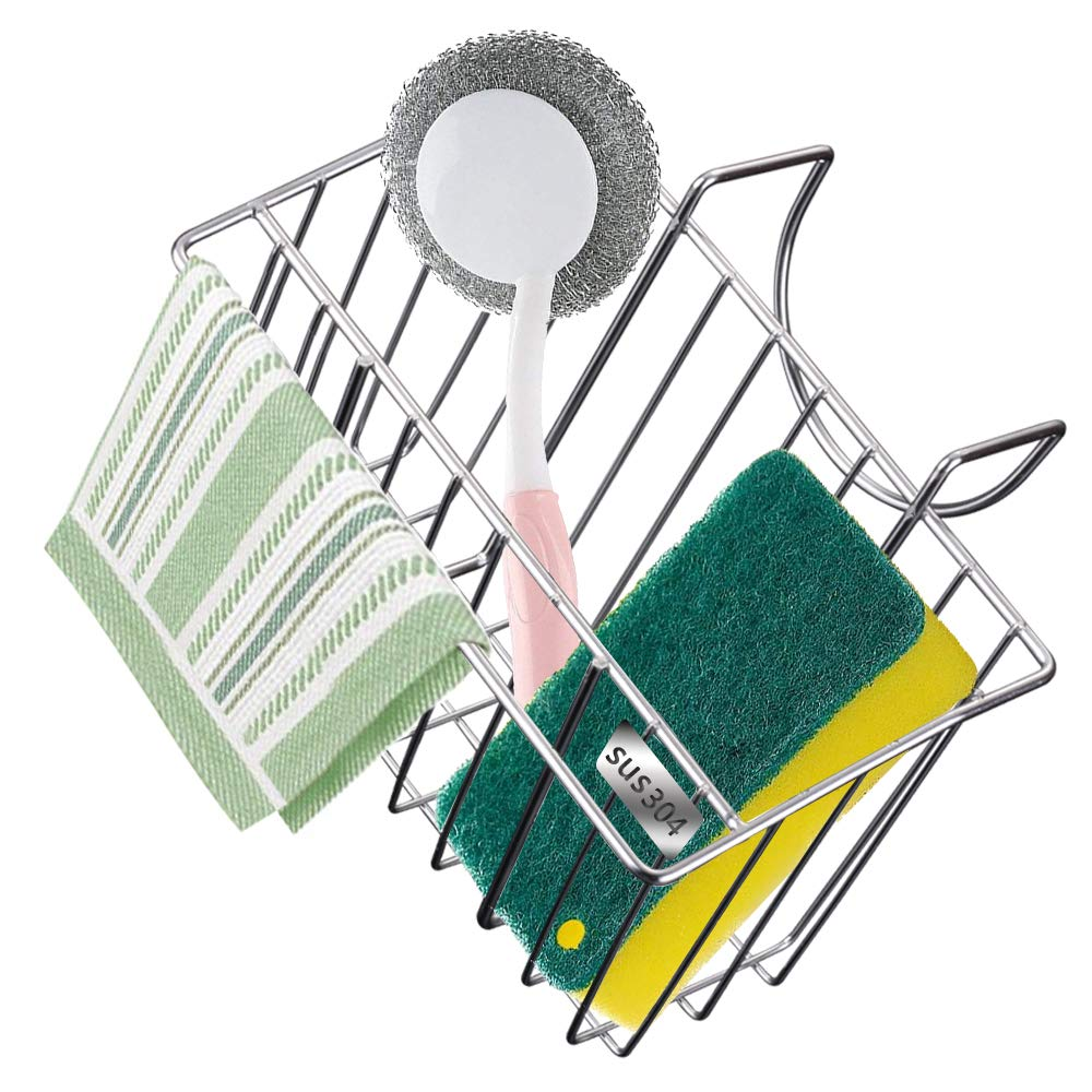 Sponge Holder for Kitchen Sink - Stainless Steel Sponge Holder and Dish Towel Rack Combination Design,sink Caddy Organizer for Dishwashing Liquid,brush, Sponge,vegetable Brush,hanging Basket Drain