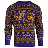 Forever Collectibles Baltimore Ravens Logo Aztec Print Ugly Crew Neck Sweater