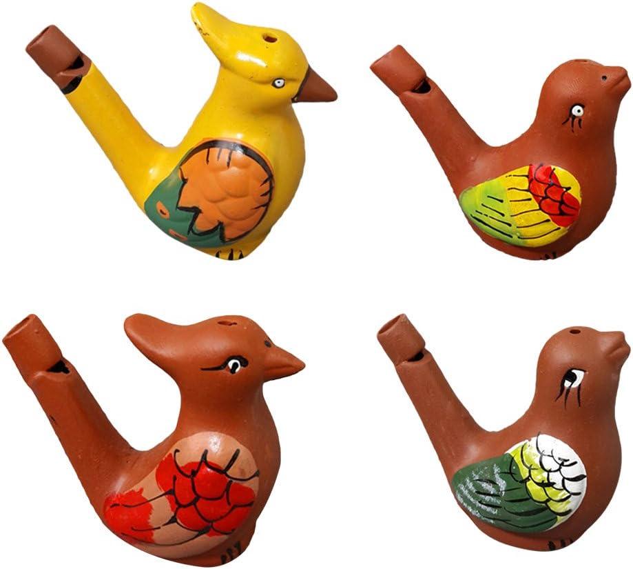 Toyvian Silbatos de Agua de Pájaro Juguete Musical Silbido de Cerámica para Niños 4 Piezas (Aleatorio)