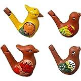 YeahiBaby 4pcs Pájaro de Agua cerámica silbido Color Dibujo curruca Canción Chirridos de cerámica bebé Bathtime