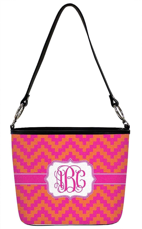 Front Personalized Regular Pink /& Orange Chevron Bucket Bag w//Genuine Leather Trim