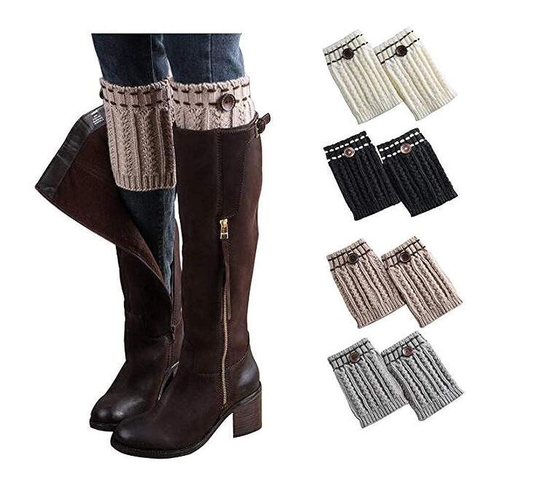 4 Pairb Jiuhexu 5 Pairs Women Winter Warm Crochet Knitted Boot Cuff Socks Short Leg Warmers