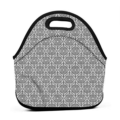 Neoprene Lunch Bag Damask,Arabesque Inspired Lines,lunch bag containers for kids ()