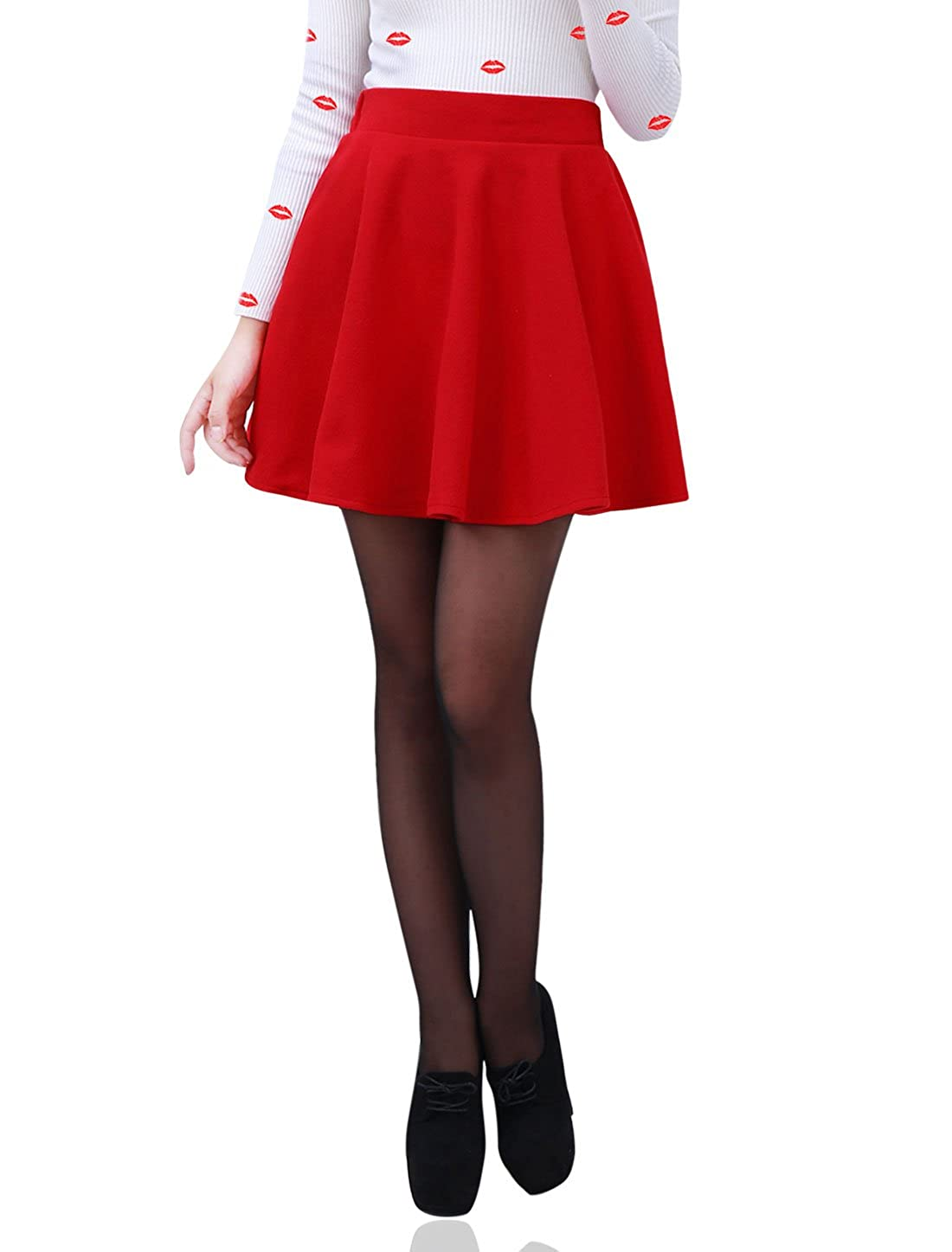Allegra K Ladies Elastic Waist Ruffled Design Casual Tweed Skater Skirt g12121300ux0048