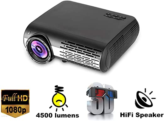 TONGTONG Proyector LED 1080P Full HD 6500 lúmenes 3D Home Theatre ...