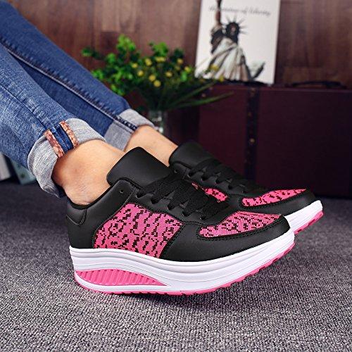 Heeled Outdoor Rosso2 Ginnastica Piattaforma KUAIKUHEI Running Scarpe da Casual Donna Zeppa Nero Fitness Sportive Sneakers Tennis Stringate gTP8q4wP