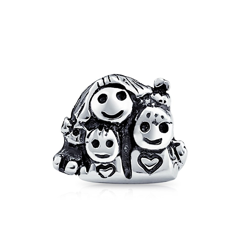 Bling Jewelry Mother and Children Happy Family Bead Charm .925 Sterling Silver PBX-HS-554-D