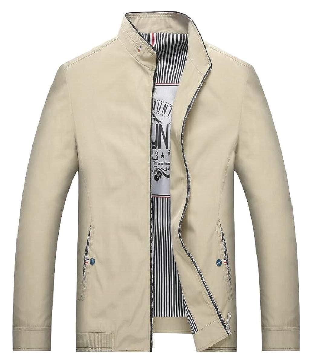 93dcb88ae Khaki LEISHOP Men's Casual Stand Collar Coats Windbreaker ...