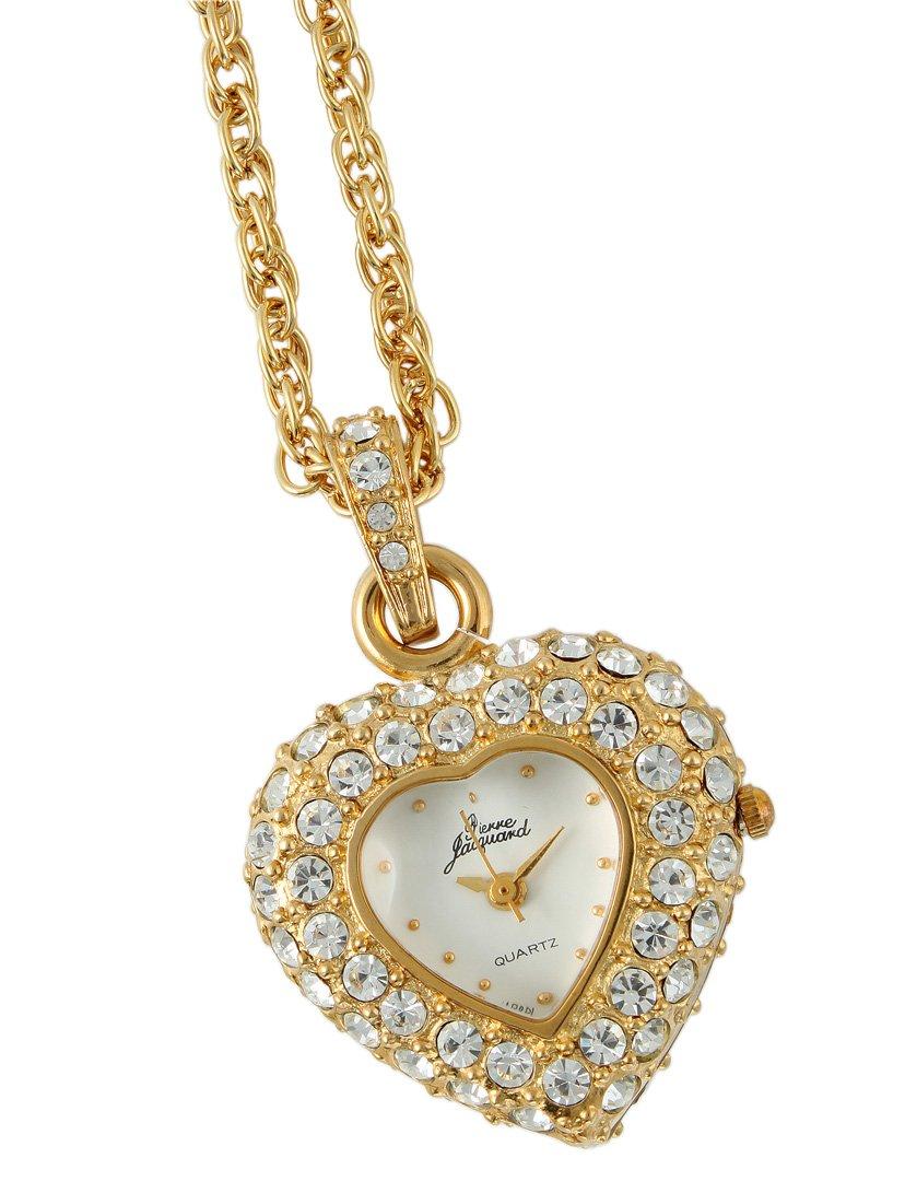 Pierre Jacquard Women's PJ8880 Gold-tone Heart Shaped Crystal Pendant Locket Mother's Day Watch