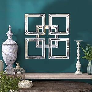 qmdecor Square Mirrored Wall Decor Decorative Mirror 12x12 inches Modern Fashion DIY Wall-Mounted Mirrors
