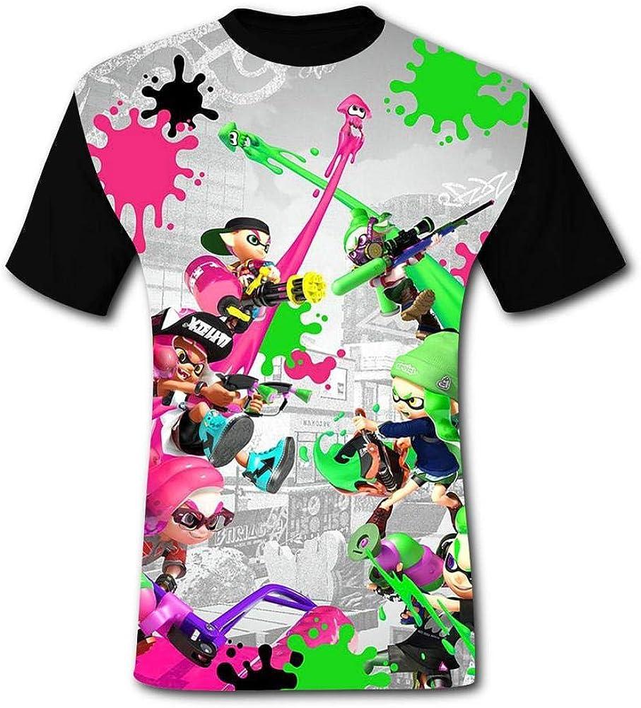 SHUANOM Splatoon Fashionable Mens and Womens All-Purpose t-Shirts Black
