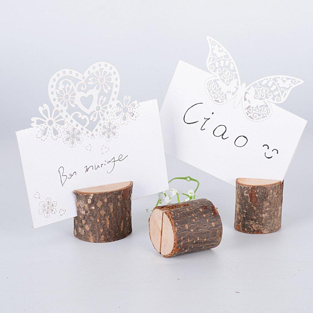 40 pz Segnaposto Legno forma Tronco Supporto Numero Posto Titolare Portafoto Decorazione Tavolo Bomboniera Matrimonio Memo Holder