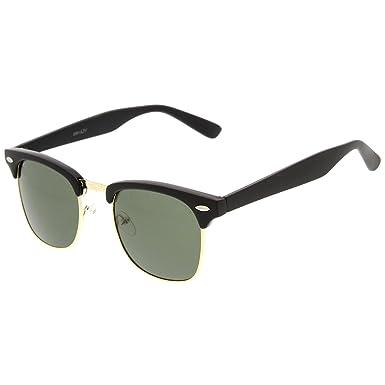 ZeroUV Gafas de sol, alta calidad, media montura con bordes de cuerno y remaches de metal