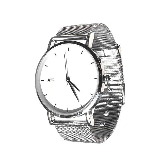 Reloj de Pulsera Dial Redondo Analógico de Cuarzo Agujas sin números Joya Mujeres Metal Plateado Mujer wz-M0057: Amazon.es: Relojes