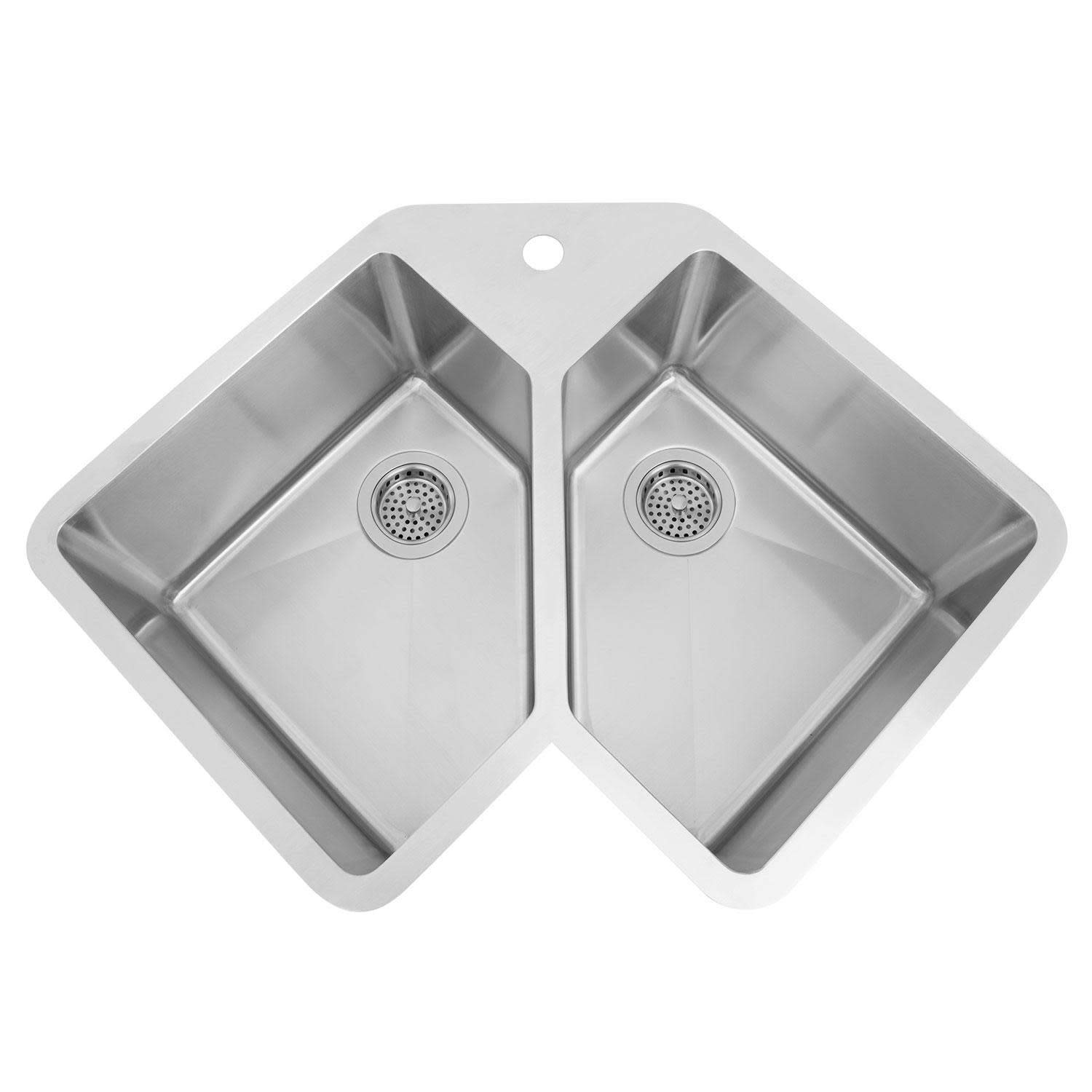 "Signature Hardware 318277 Infinite 32-3/4"" Undermount Double Basin 16 Gauge Stainless Steel Corner Kitchen Sink with Single Faucet Hole"