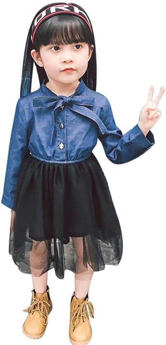 Bebé Bowknot Patchwork princesa tutú tul serigrafía vestido Denim ...