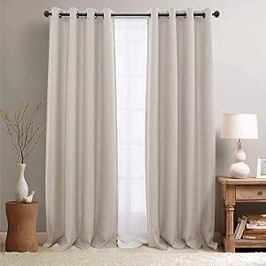 "jinchan Linen Curtains Textured Room Darkening Bedroom Living Room Window Treatment Panels 2 Pieces 84"" L Greyish Beige"