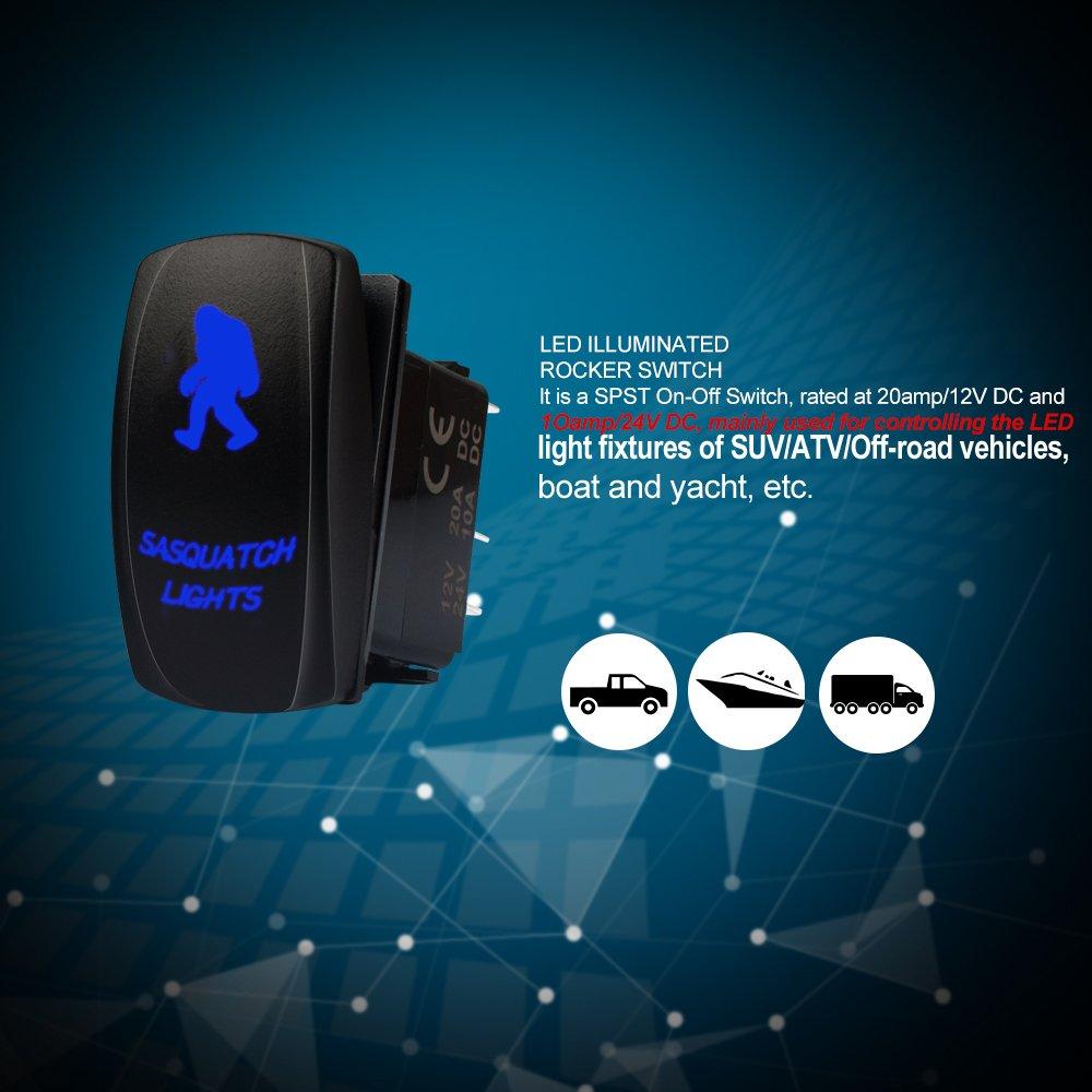 Blue Rocker Switch 5pin Led Light Bar For Utv Polaris Rzr Xp 900 Wiring Spst 1000 Ranger