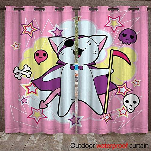 RenteriaDecor 0utdoor Curtains for Patio Waterproof Vector Kawaii Illustration Halloween cat and Creatures W72 x L84 ()