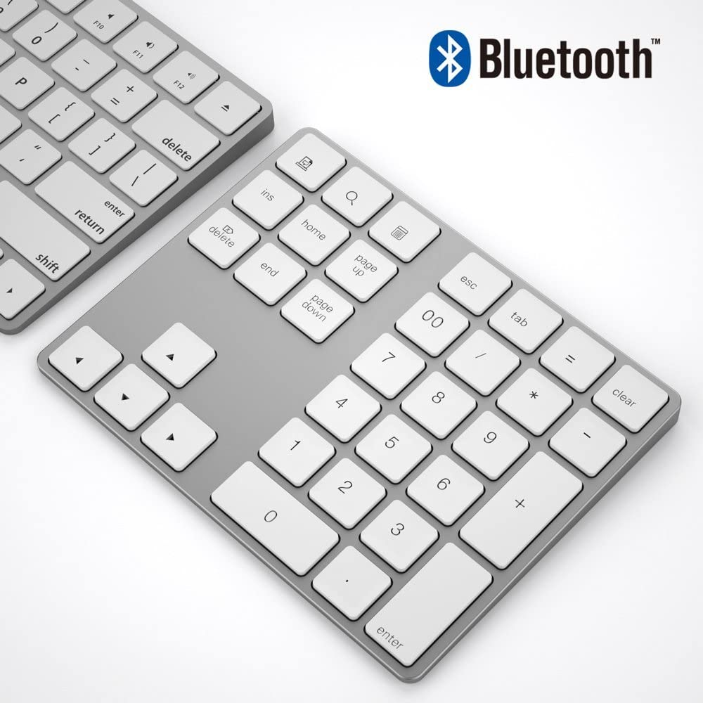 ikos Bluetooth Numeric Keypad, Portable Wireless Bluetooth 34-Key External Number pad with Multiple Shortcuts for Computer Laptop Windows Surface Compatible with Apple iMac Mackbook iPad (White)