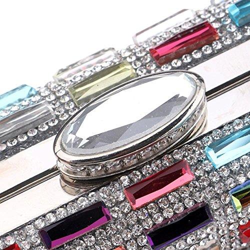Women Acrylic pour chaîne Clutches de Evening TuTu Metal Gag le Day mariage Evening dîner Diamonds colorful Purse avec Shoulder Bag q5Cxwdwz