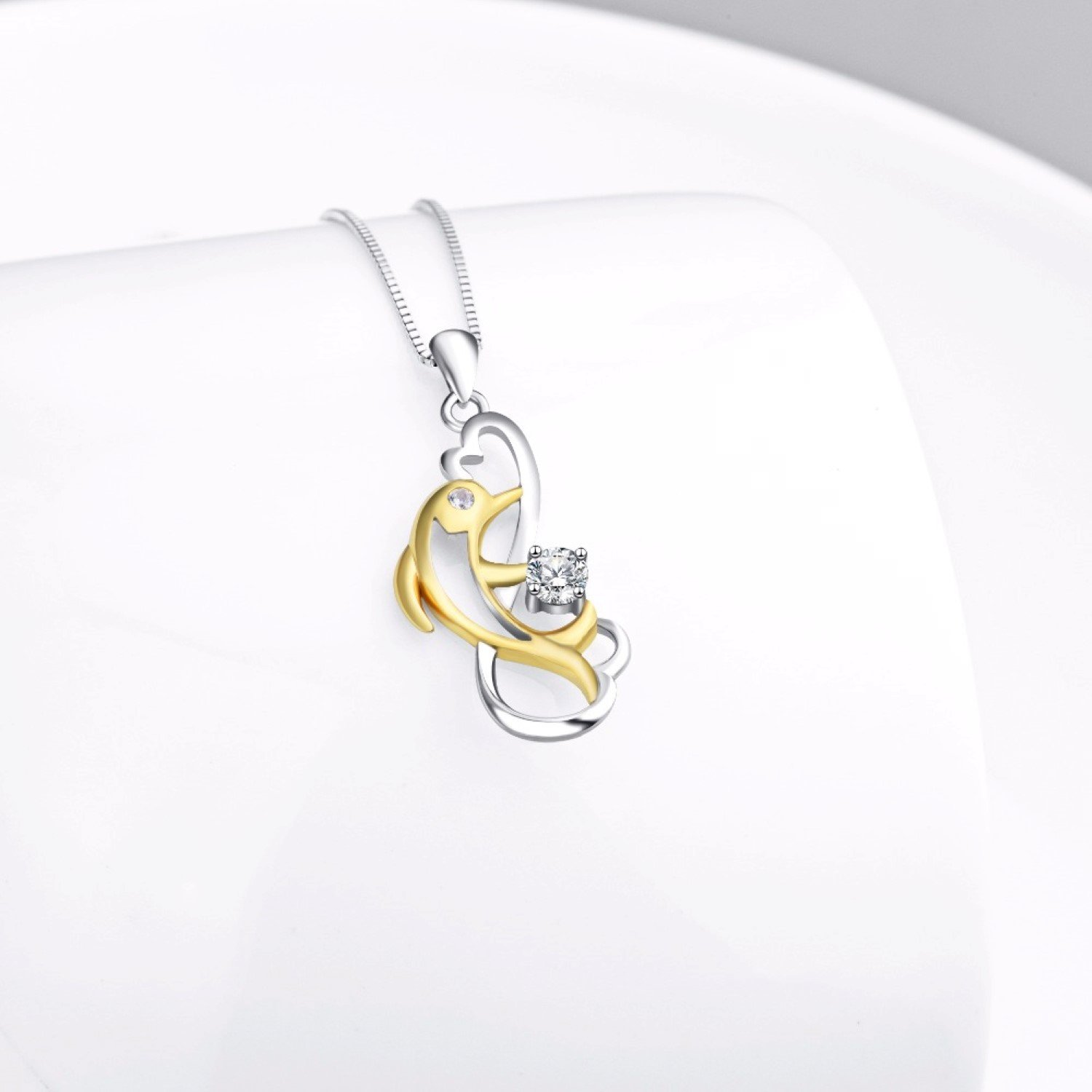 CS-DB Womens Necklaces by Silver Pendant Lovely Dolphin Infinity Love Charm Girls