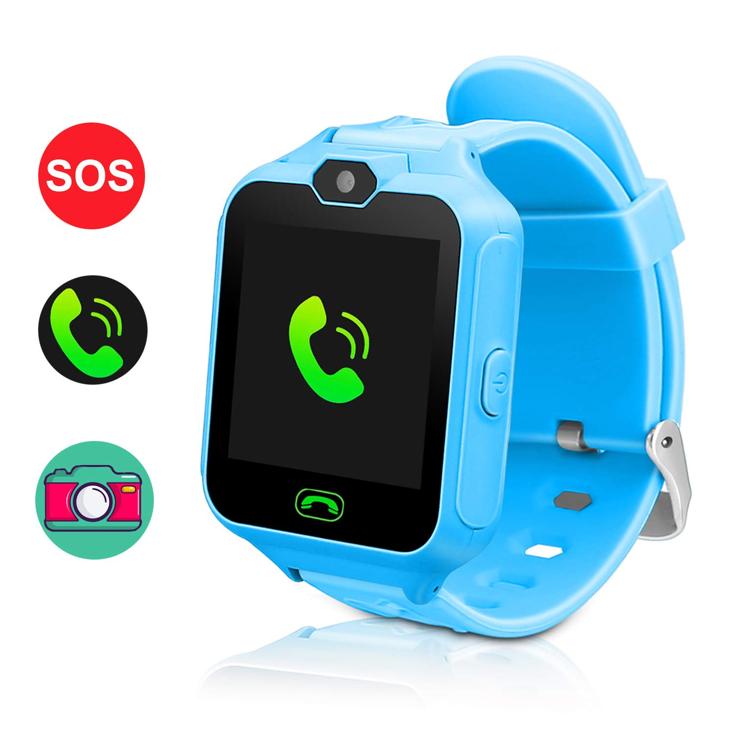 Smart Watch for Kids,Smartwatches for Girls Boys Phone Watch Camera SOS Alarm Clock, Smart Watch for kids Girls Boys Birthday Great Gifts(Blue)