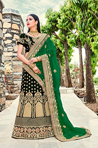 Traditional Dark Green Choli Women Lehenga 3 Ethnic Partywear Facioun Da Indian Designer xSwqxY4R