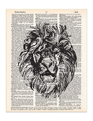 Lion Head Vintage Drawing, Dictionary Page Art Print, 8x11 UNFRAMED
