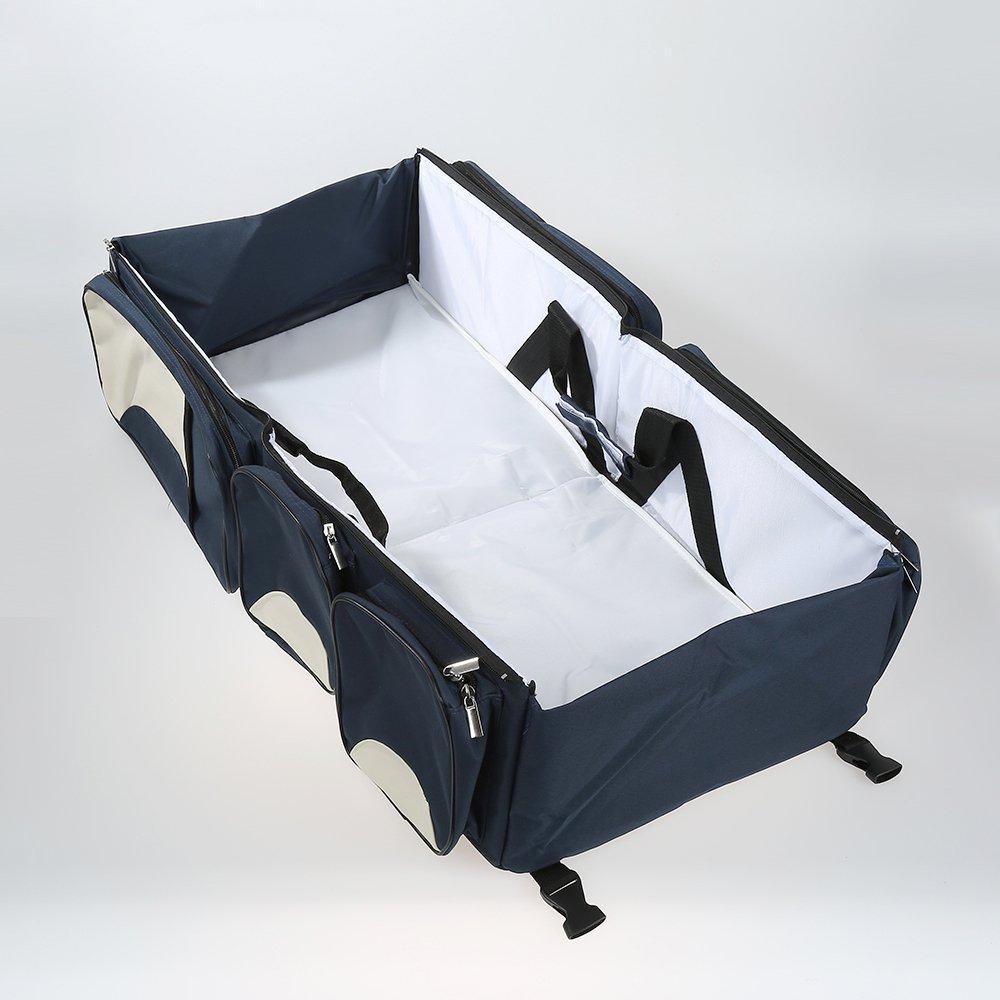 3 in 1-Wickeltasche, Mehrzweck-Tasche, reisebett für Baby,als Tragebettchen und Wickeltisch, tragbar, veränderbar (Navy Blue) reisebett für Baby veränderbar (Navy Blue) WeFun