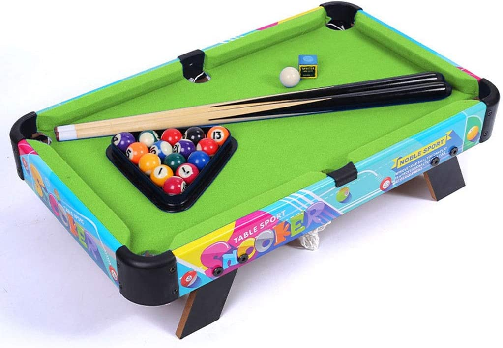 Mini piscina Conjunto de mesa - Portable piscina Juego de Pelota con 2 tacos de billar, los titulares de bolsillo, numeradas bolas y la tabla de billar for un delicioso uno-a-uno Snooker