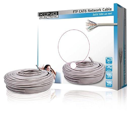 5 opinioni per König CMP-FTP6R50S FTP Cat6- Cavo di rete, rotolo da 50 m, colore: Grigio